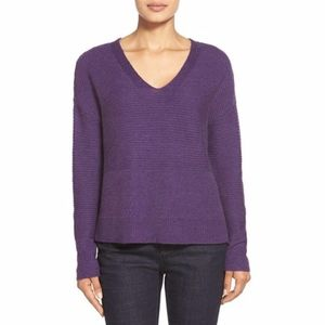 Eileen Fisher V Neck Boxy Wool Blend Knit Sweater
